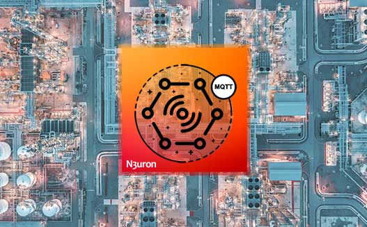 An industrial plant top view with the MQTT icon on the top
